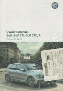 VW MK7 GOLF GTI GTD GOLF R OWNERS HANDBOOK MANUAL EDTION 11.2017 NEW