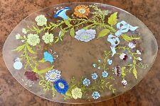 Dorothy Thorpe Wild Flowers Serving Platter, Signed, Handpainted Glass, MCM