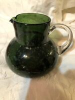 "Hand Blown Art Glass Pitcher Carafe Olive Green Clear Applied Handle 7 1/2""H"