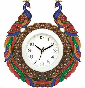 """Hand Painted Peacock Wall Clock Living Room Office Christmas Gift Home Decor 14"""""""