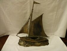VINTAGE ELECTROPLATE SAILING BOAT ON A PLINTH HEIGHT 33 cm LENGTH 29  cm