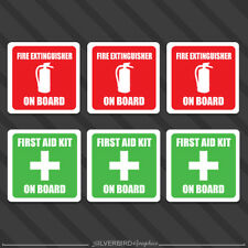 "2"" Fire Extinguisher  First Aid Kit sticker vehicle emergency decals  label x6"