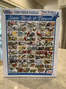 "White Mountain 1000 Pice Jigsaw Puzzle ""State Birds & Flowers"" Factory Sealed"