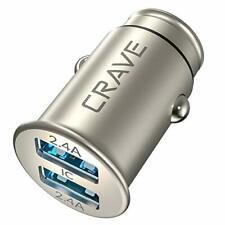 Crave Metal Car Charger [24W 4.8A 2 Port Dual Usb] Zinc Alloy Metallic