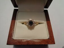 18ct yellow gold diamond & sapphire cluster ring size N