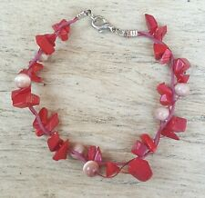 """Freedom Tree""""  Red Coral & Cats Eye Gemstone Bracelet Hand Made"""