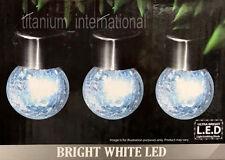 Solar Powered Garden 3 Crackle Ball Hanging Lights Bright White LED New