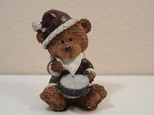 "Cute Christmas Brown Bear In A Bearded Santa Suit Playing A Drum ~ 3 7/8"" Tall"