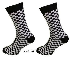 Mens 2 Pair Pack Black and White Check Retro Socks