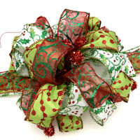 Red Green Pre-made Bow Christmas Wreath Decoration Tree Ornament Present Gift
