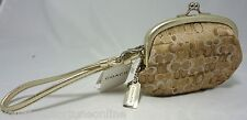 NWT Coach Gold Lurex Evening Bag Coin Purse Wristlet ID Kiss Lock Framed 1559