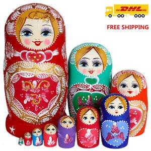 Russische Matroschka Babuschka Matrjoschka Holz Puppe Kinder Spiezeug Kit 10tlg