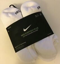 6 Pairs Pack White Nike Cotton Cushioned Stretch Dri Fit No Show Socks NEW Women