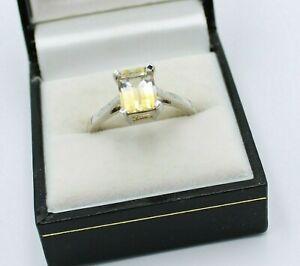 925 Sterling Silver Ladies Ring Size T U Variegated Lemon Gemporia Saolitaire