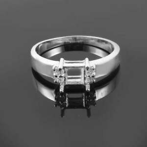 Silver Semi Mount 5 mm Square Setting Men semi mount Wedding Ring setting Polish