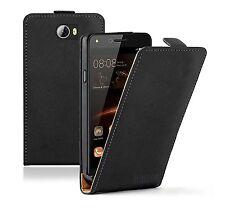 SLIM Neri in Pelle Flip Cover Custodia Per Cellulare Huawei Y 5ii
