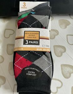 3 Pair's Men's Jacquard Designer Socks - Cotton Rich - UK 6 -11
