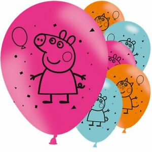 6 Pack Peppa Pig George Birthday Party Latex Pink Blue Balloons Decorations