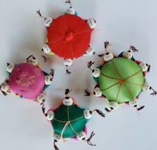 Vintage Oriental Satin Silk Pin Cushion Asian Children and Safety Pin Box lot 4