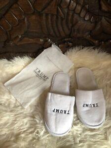 Trump Hotel Slippers in Official Dust Bag Size 7 8 Unisex Merchandise Footwear