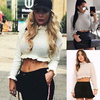 Womens Cropped Knitted Jumper Ruffle Frill Fashion Hem Long Sleeve Knitwear Tops