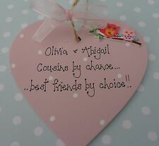 Personalised cousins by chance, sisters by chance  heart plaque gift keepsake