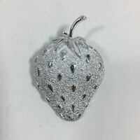 Sarah Coventry Strawberry Brooch Pin Silver Tone Signed Designer Estate Jewelry