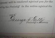 George F Getty Autograph on summons as a Lawyer 1885