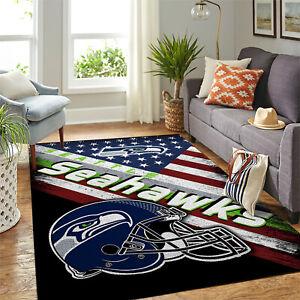 Seattle Seahawks NFL US Flag & Snoopy Team Logo Home Decor Rectangle Area Rug
