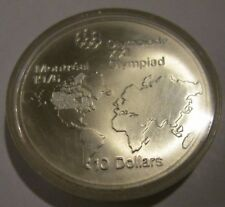 Canada Montreal 1976 Olympic Uncirculated 10 Dollar  Silver World Map 1973