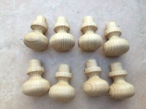 Small Set of 8 Pine Wooden Knobs