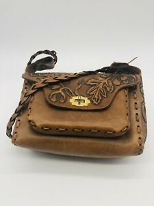 Vintage Hand Tooled Leather Bag From Mexico