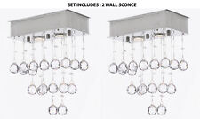 SET OF 2 - WALL SCONCE Modern Chandelier Rain Drop Lighting Crystal Ball FIXTURE