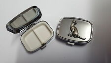 Siamese Cat PP-C02 English Pewter Emblem on a Rectangular Travel Metal Pill Box