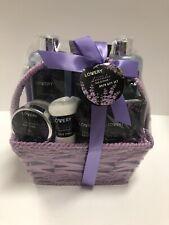 Home Spa Gift Basket, 9 Pc Bath & Body Set for Women and Men, Lavender & Jasmine