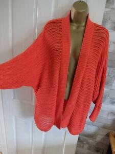 F&F ● 12 14 ● orange holey knitted cardigan jumper top womens ladies