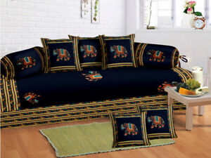 Indian Rajasthani Blue Boho Diwan Set Diwan Cover Cushion Covers Bolster Covers