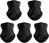 (Pack of 5) Black Pure Bandanas Headband Face Shield Scarf Neck Gaiter Balaclava