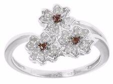 Sterling Cherry Blossom Flowers White Red Diamond Ring 6 #reddiamondrings #rings