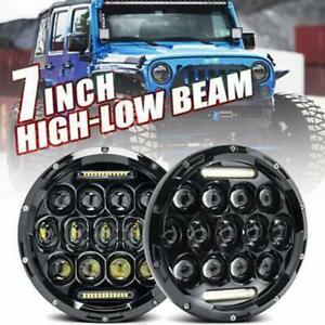 "For Suzuki Sierra LJ80 SJ80 SJ80V 1pr LED Black 7"" Round Headlights Lights AU"