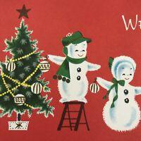 Vintage Mid Century Christmas Greeting Card Snowman Family Decorating Tree Bulbs
