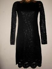 H&M SEXY SHINY BLACK & GOLD LACE BODY CON STRETCH DRESS LONG SLEEVE ROCK 8 NEW