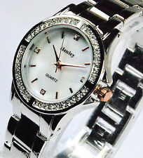 Ladies Henley Sparkling Crystals White Pearly Face Watch Rose Gold Tone Detail