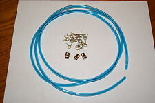 1/8' ID BLUE PRIMER HOSE FUEL LINE CARBURETOR + CLAMPS 5FT