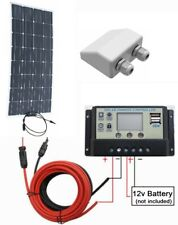 120w Flex Mono Solar Panel + 10A LCD Controller 2x USB +2m cable 12v Charger Kit