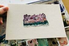 Original Amethyst Abstract Art Watercolor Painting OOAK Crystal Rock Artwork