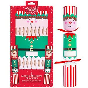 Faites Votre Propre Personnalisé Elfe Noël Crackers Kit Amusant Famille Activité
