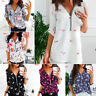 US Plus Size Women Summer Print Zipper V-Neck T-Shirt Long Sleeve Tops Blouse