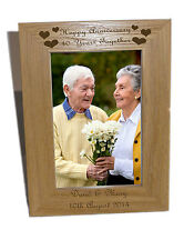Happy Anniversary, 40 years Wooden Photo Frame 4x6  - Free Engraving