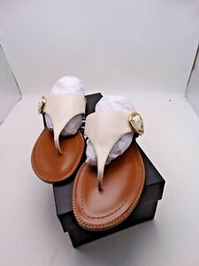 COACH LESLI Chalk Leather Flat Sandals Size 8 New In Box